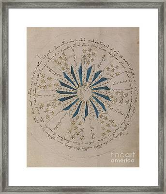 Voynich Manuscript Astro Rosette 1 Framed Print