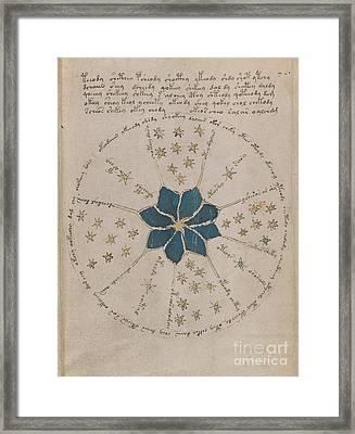 Voynich Manuscript Astro Rosette 2 Framed Print