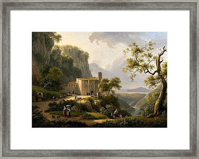 Vue Couvent Dans La Campagne Romaine Framed Print by Marin VERSTAPPEN
