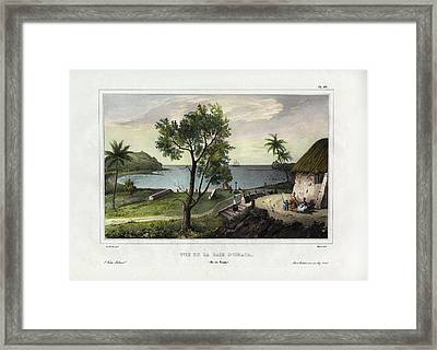 Framed Print featuring the drawing Vue De La Baie Dumata Umatic Bay by dUrville duSainson