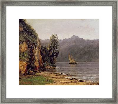 Vue Du Lac Leman Framed Print by Gustave Courbet