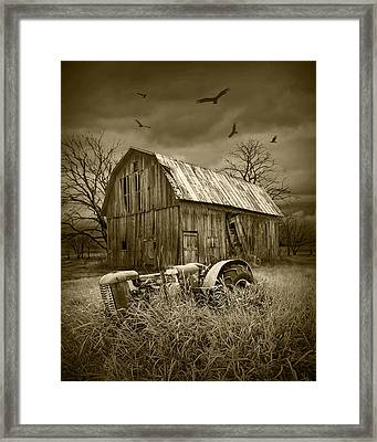 Vultures Circling The Old Barn Framed Print