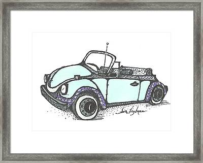 Vw Beetle, Blue Convertible Framed Print by Faith Frykman