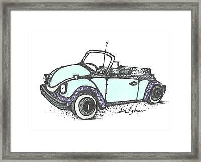 Vw Beetle, Blue Convertible Framed Print