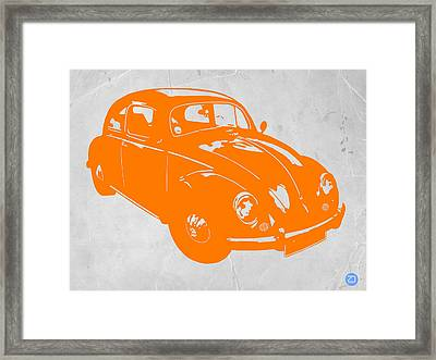 Vw Beetle Orange Framed Print by Naxart Studio