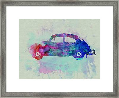 Vw Beetle Watercolor 1 Framed Print by Naxart Studio