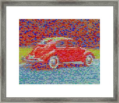 Framed Print featuring the digital art Vw Bug Pez Mosaic by Paul Van Scott