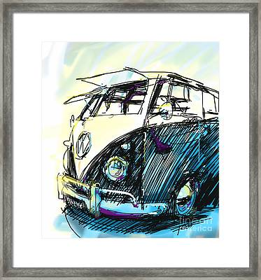 Vw Bus Classic Framed Print by Peter Fogg