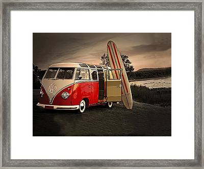 Vw Bus Sufrboard Beach Collection Framed Print by Marvin Blaine