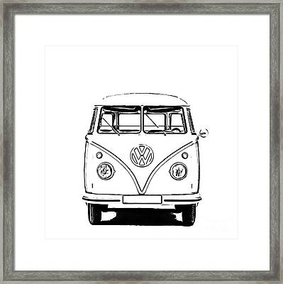Vw Bus T-shirt Framed Print by Edward Fielding