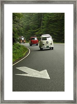 Vw Buses And A Really Big Arrow Framed Print by Richard Kimbrough