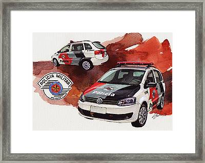 Vw Spacebox  Military Police Car Framed Print