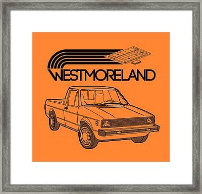 Vw Rabbit Pickup - Westmoreland Theme - Black Framed Print by Ed Jackson