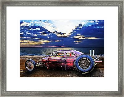 Rat Rod Surf Monster At The Shore Framed Print