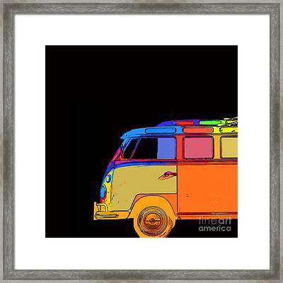 Vw Surfer Bus Square Framed Print by Edward Fielding