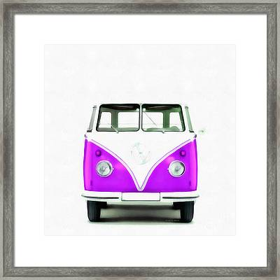 Vw Van Purple Painting Framed Print by Edward Fielding