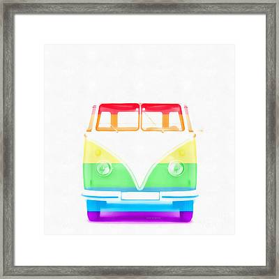 Vw Van Rainbow Framed Print by Edward Fielding