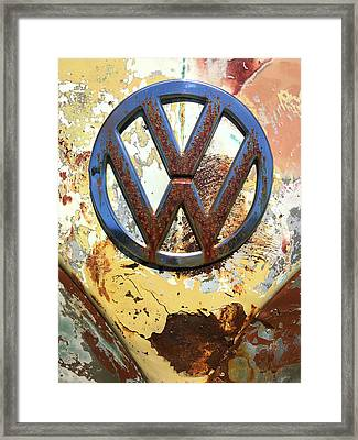 Vw Volkswagen Emblem With Rust Framed Print