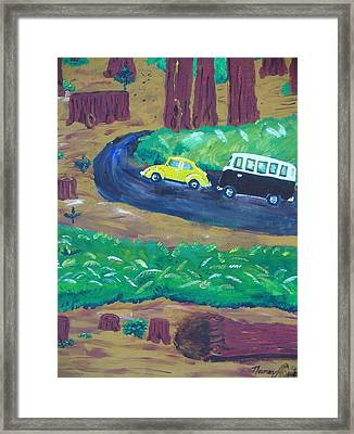Vws In The Redwoods Framed Print by Nancy Suiter