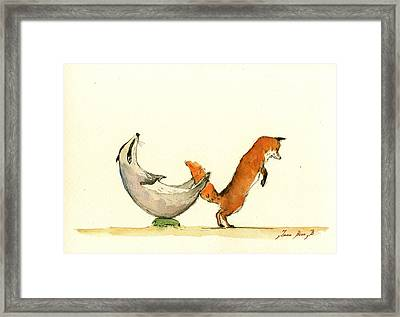 W Letter Woodland Animals Framed Print