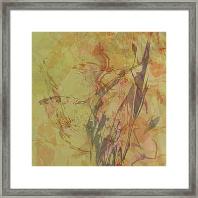 Wabi Sabi Ikebana Rose On Yellow Green Framed Print