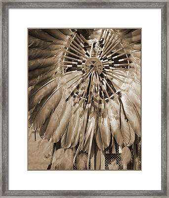 Wacipi Dancer In Sepia Framed Print by Heidi Hermes