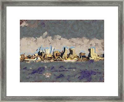 Framed Print featuring the mixed media Wacky Philly Skyline by Trish Tritz