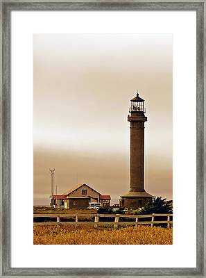 Wacky Weather At Point Arena Lighthouse - California Framed Print