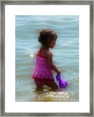 Wading Child Framed Print by Lori Seaman