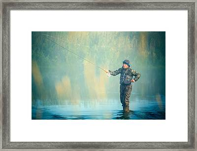 Wading For Trout Framed Print