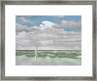 Framed Print featuring the digital art Wading The Salt Flats by Kerry Beverly