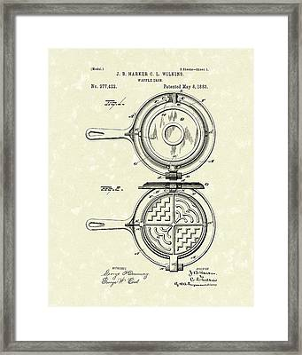 Waffle Iron 1883 Patent Art Framed Print by Prior Art Design