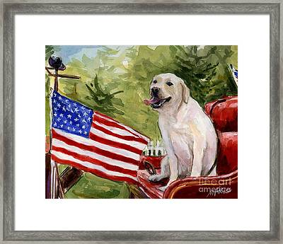 Framed Print featuring the painting Wag The Flag by Molly Poole