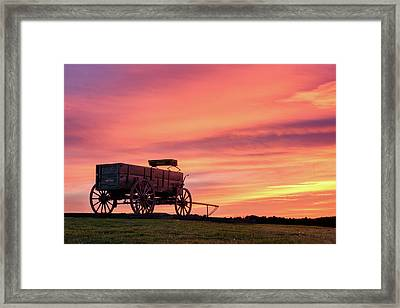 Wagon Afire Framed Print by Michael Blanchette