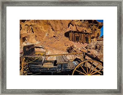Wagon And Miners Hut Framed Print by Garry Gay