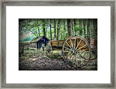 Wagon At The Cabin Framed Print