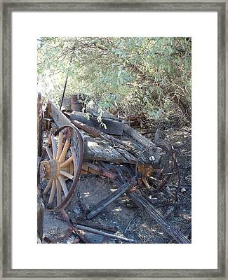 Wagon At The Ghost Town Framed Print by Marilyn Barton
