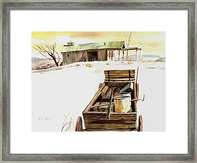 Framed Print featuring the painting Wagon At White Sands by John Norman Stewart