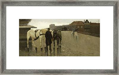 Wagon Bridge In The Hague Framed Print by Willem de Zwart