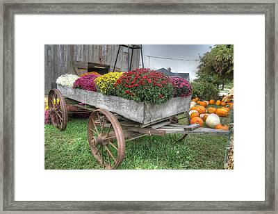 Wagon Farm Mums Pumpkin Agriculture Barn Framed Print by Jane Linders