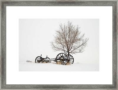 Wagon In The Snow Framed Print