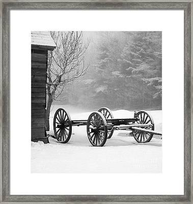 Wagon In Winter Framed Print