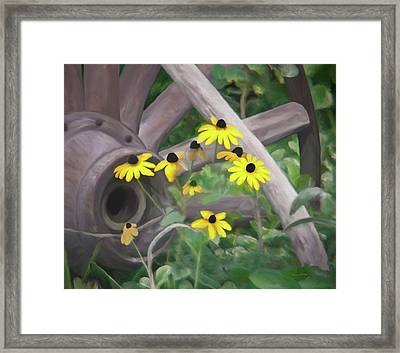 Wagon Wheel Framed Print by Ernie Echols