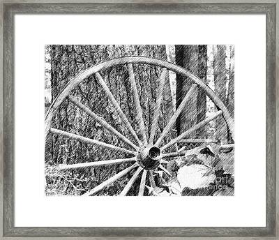 Wagon Wheel In Pencil Framed Print