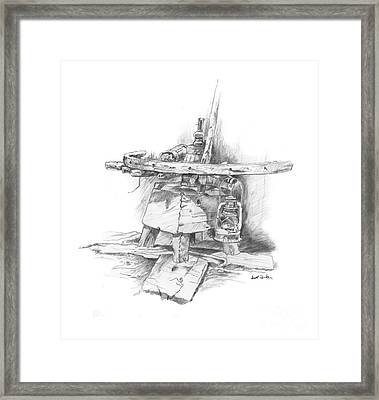 Wagon Wheel Work Bench Framed Print