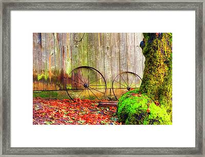 Wagon Wheels And Autumn Leaves Framed Print