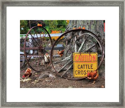 Wagon Wheels And Chickens - Farm Scenes Framed Print