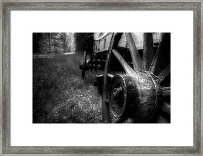 Wagon Wheels In Black And White Framed Print by Greg Mimbs