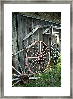 Framed Print featuring the photograph Wagon Wheels by Joanne Coyle