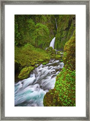 Framed Print featuring the photograph Wahclella Falls by Darren White